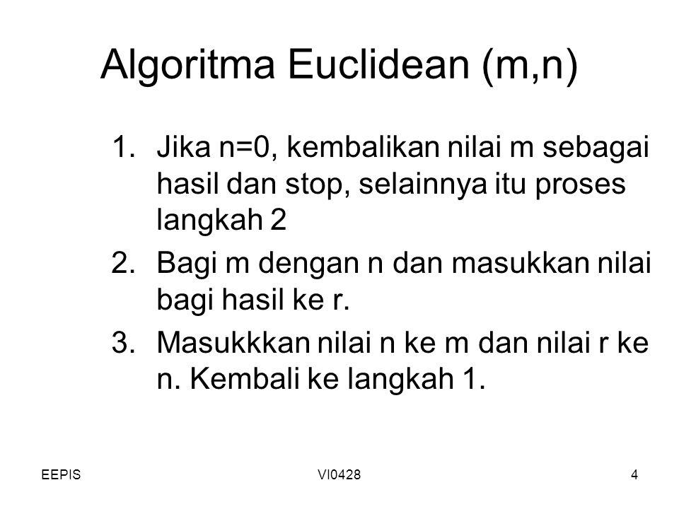 EEPISVI04284 Algoritma Euclidean (m,n) 1.Jika n=0, kembalikan nilai m sebagai hasil dan stop, selainnya itu proses langkah 2 2.Bagi m dengan n dan mas