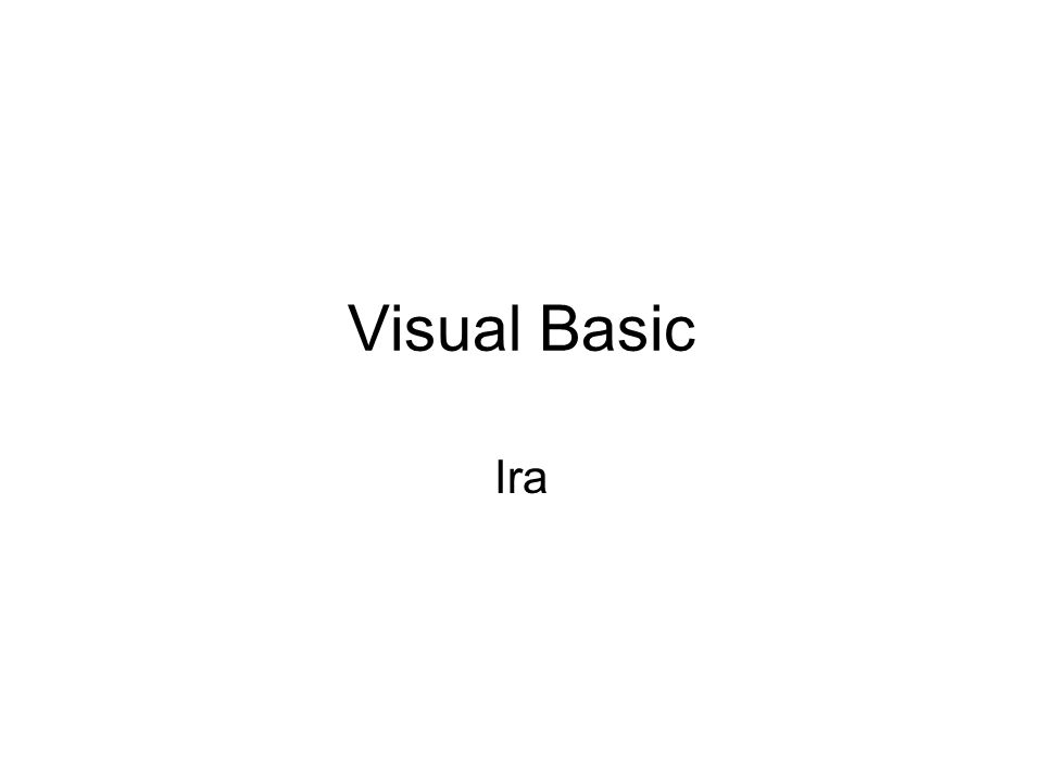 Visual Basic Ira