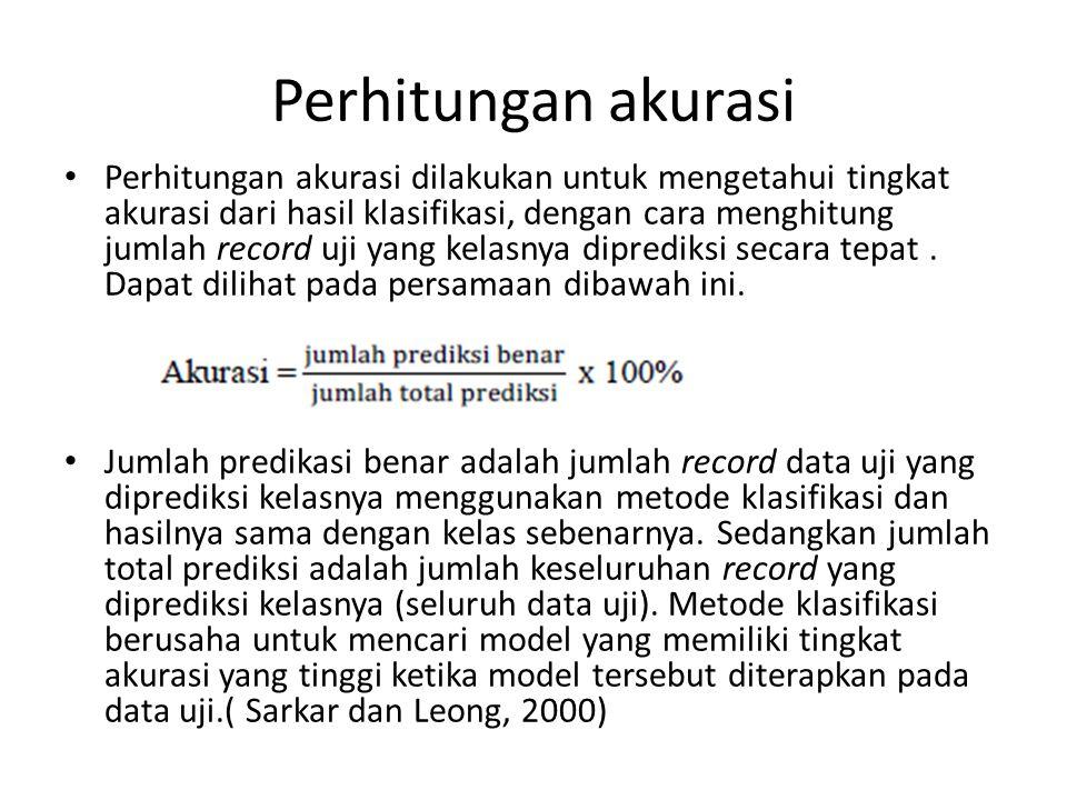 Perhitungan akurasi Perhitungan akurasi dilakukan untuk mengetahui tingkat akurasi dari hasil klasifikasi, dengan cara menghitung jumlah record uji ya