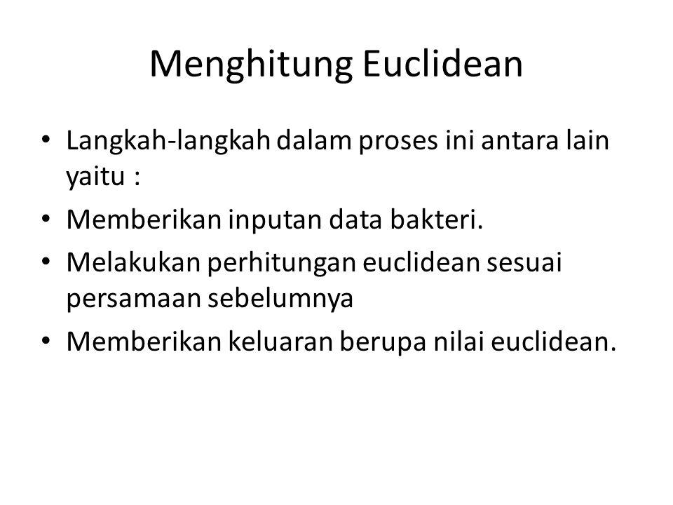 Menghitung Euclidean Langkah-langkah dalam proses ini antara lain yaitu : Memberikan inputan data bakteri. Melakukan perhitungan euclidean sesuai pers