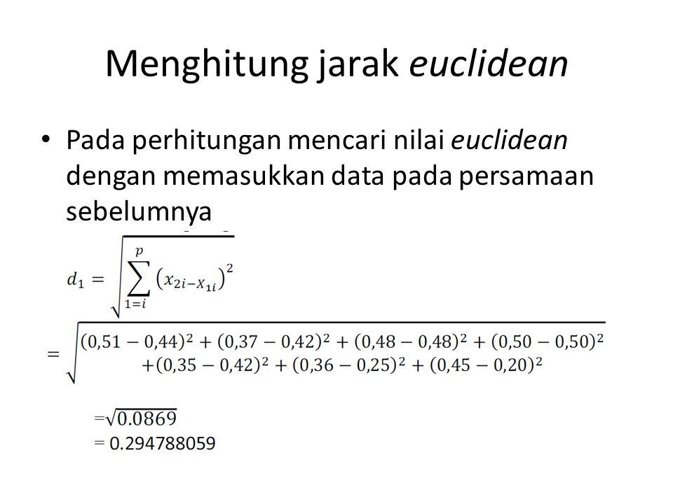 Menghitung jarak euclidean Pada perhitungan mencari nilai euclidean dengan memasukkan data pada persamaan sebelumnya