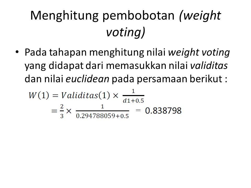 Menghitung pembobotan (weight voting) Pada tahapan menghitung nilai weight voting yang didapat dari memasukkan nilai validitas dan nilai euclidean pad