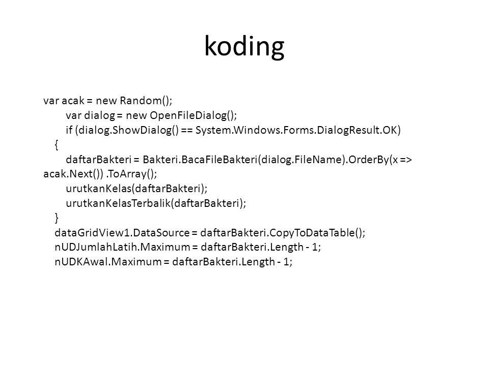 koding var acak = new Random(); var dialog = new OpenFileDialog(); if (dialog.ShowDialog() == System.Windows.Forms.DialogResult.OK) { daftarBakteri =