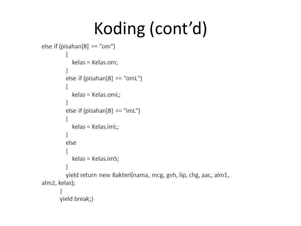 Koding (cont'd) else if (pisahan[8] ==