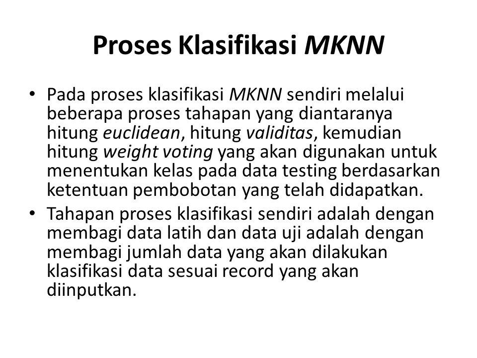 Proses Klasifikasi MKNN Pada proses klasifikasi MKNN sendiri melalui beberapa proses tahapan yang diantaranya hitung euclidean, hitung validitas, kemu