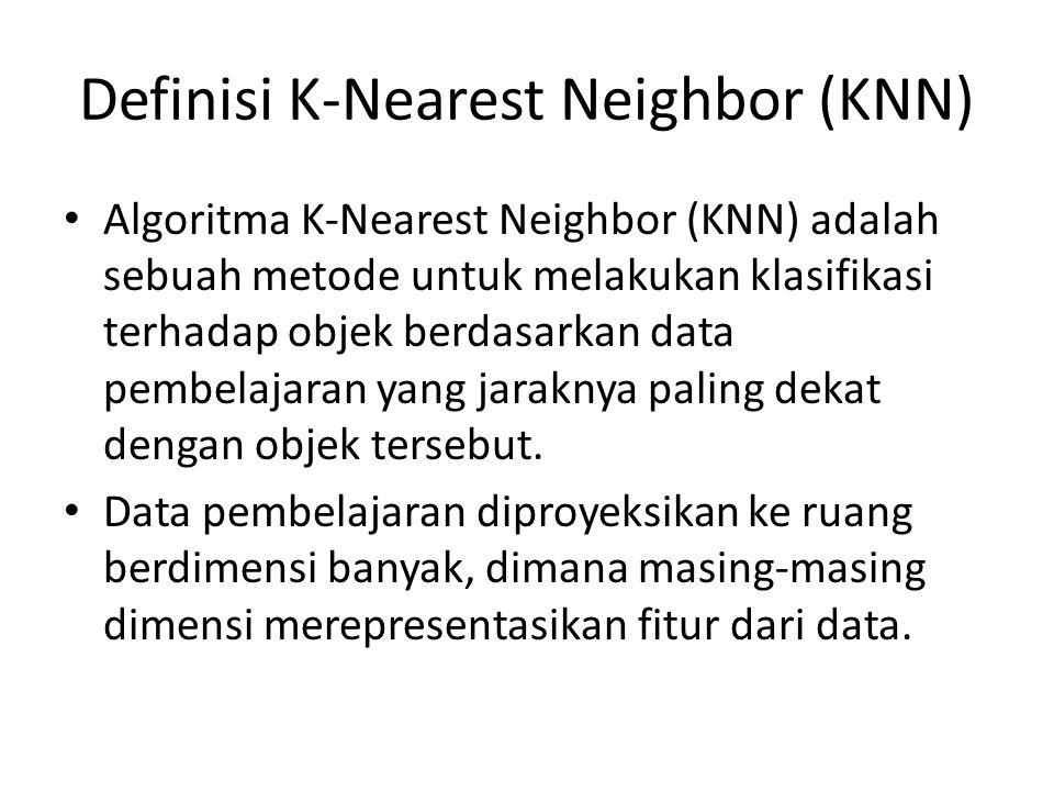 Definisi K-Nearest Neighbor (KNN) Algoritma K-Nearest Neighbor (KNN) adalah sebuah metode untuk melakukan klasifikasi terhadap objek berdasarkan data