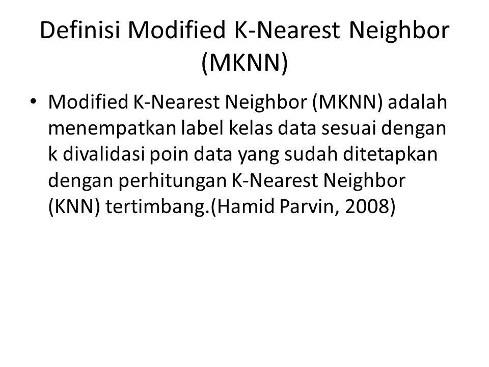 Definisi Modified K-Nearest Neighbor (MKNN) Modified K-Nearest Neighbor (MKNN) adalah menempatkan label kelas data sesuai dengan k divalidasi poin dat