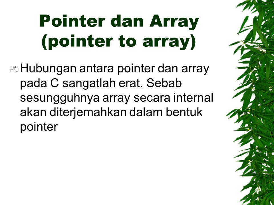 Pointer dan Array (pointer to array)  Hubungan antara pointer dan array pada C sangatlah erat.