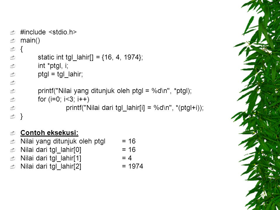  #include  main()  {  static int tgl_lahir[] = {16, 4, 1974};  int *ptgl, i;  ptgl = tgl_lahir;   printf( Nilai yang ditunjuk oleh ptgl = %d\n , *ptgl);  for (i=0; i<3; i++)  printf( Nilai dari tgl_lahir[i] = %d\n , *(ptgl+i));  }  Contoh eksekusi:  Nilai yang ditunjuk oleh ptgl = 16  Nilai dari tgl_lahir[0] = 16  Nilai dari tgl_lahir[1] = 4  Nilai dari tgl_lahir[2] = 1974