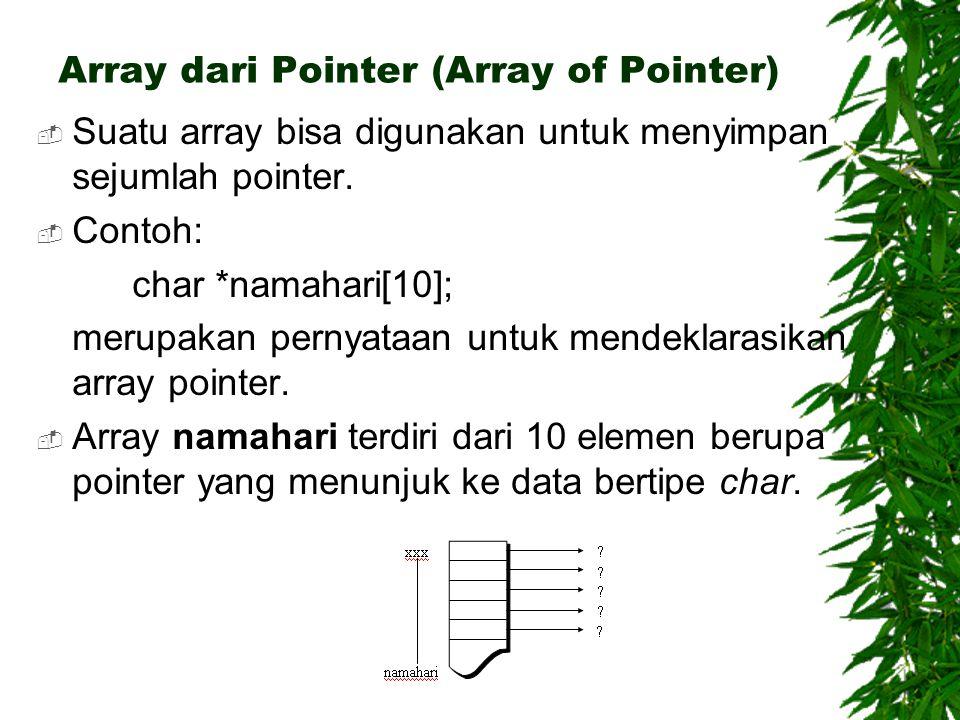 Array dari Pointer (Array of Pointer)  Suatu array bisa digunakan untuk menyimpan sejumlah pointer.