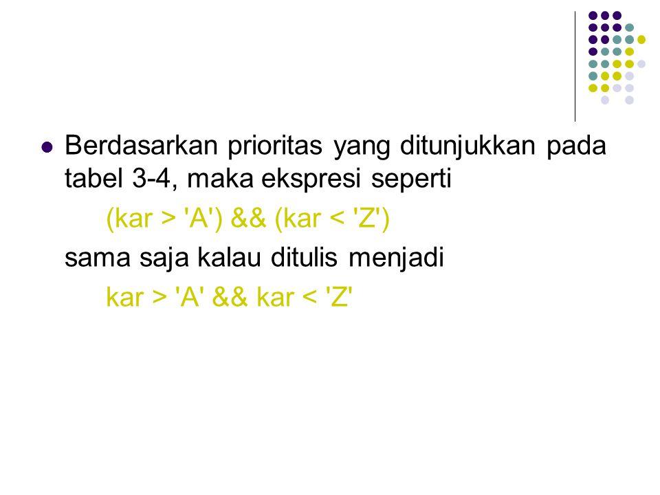 Berdasarkan prioritas yang ditunjukkan pada tabel 3-4, maka ekspresi seperti (kar > 'A') && (kar < 'Z') sama saja kalau ditulis menjadi kar > 'A' && k