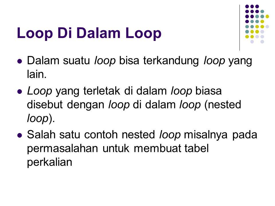 Loop Di Dalam Loop Dalam suatu loop bisa terkandung loop yang lain.