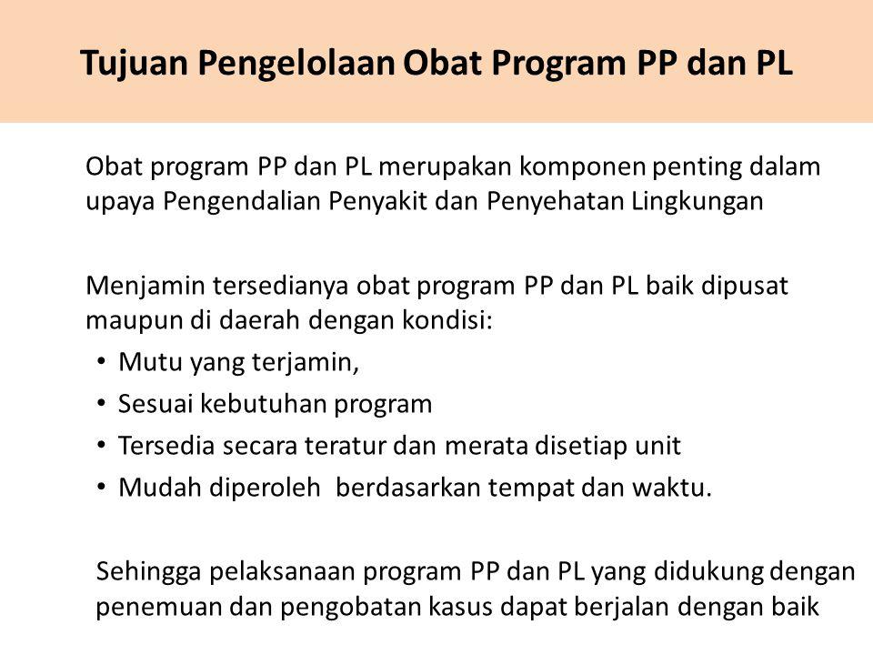 Tujuan Pengelolaan Obat Program PP dan PL Obat program PP dan PL merupakan komponen penting dalam upaya Pengendalian Penyakit dan Penyehatan Lingkunga