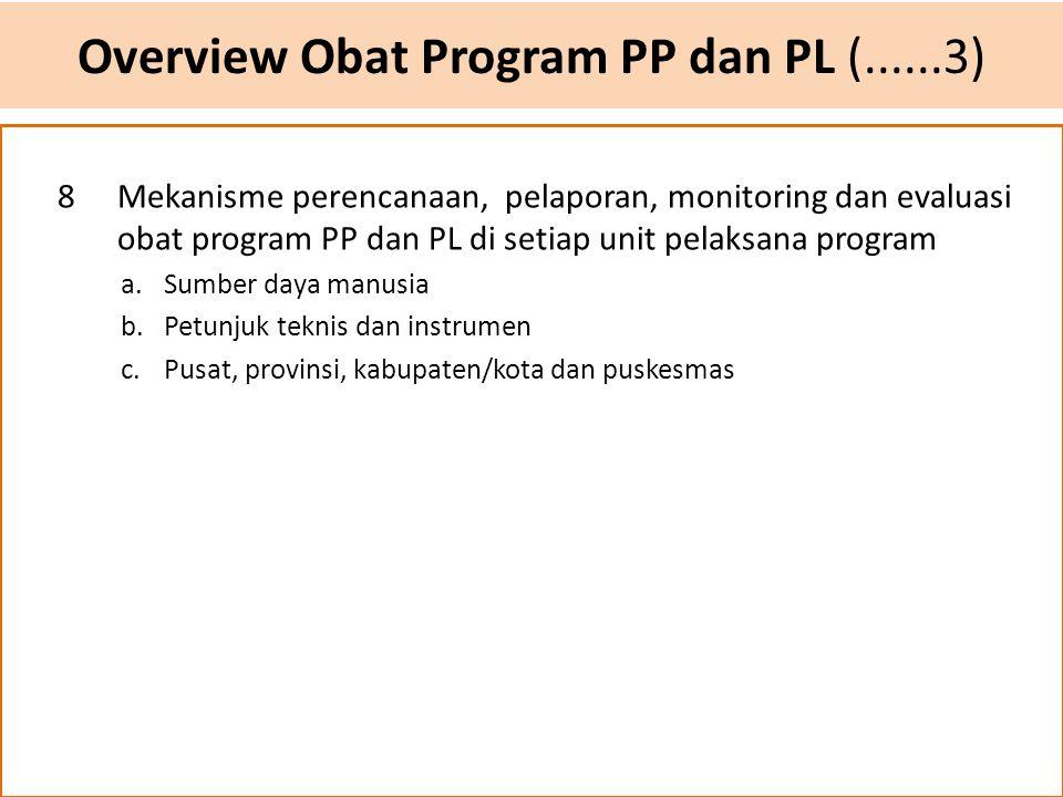 Overview Obat Program PP dan PL (......3) 8Mekanisme perencanaan, pelaporan, monitoring dan evaluasi obat program PP dan PL di setiap unit pelaksana p