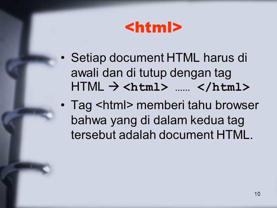 10 Setiap document HTML harus di awali dan di tutup dengan tag HTML  …… Tag memberi tahu browser bahwa yang di dalam kedua tag tersebut adalah document HTML.