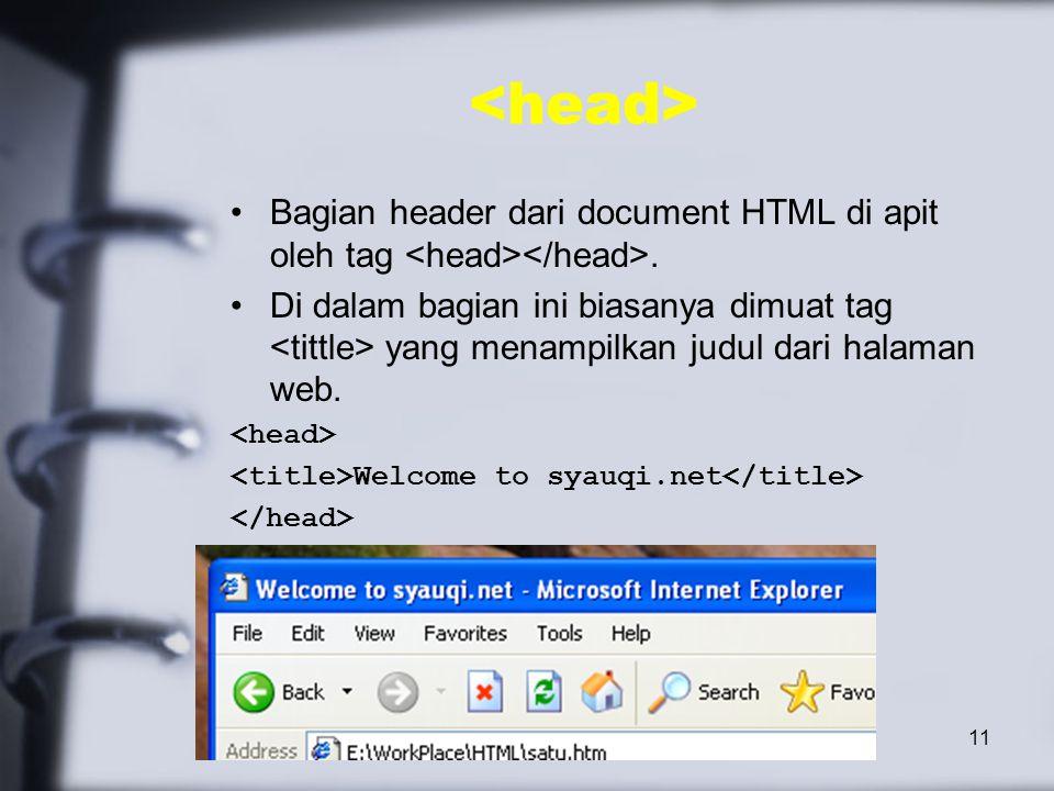 11 Bagian header dari document HTML di apit oleh tag.