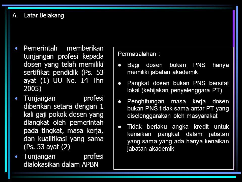 A.Latar Belakang Pemerintah memberikan tunjangan profesi kepada dosen yang telah memiliki sertifikat pendidik (Ps. 53 ayat (1) UU No. 14 Thn 2005) Tun