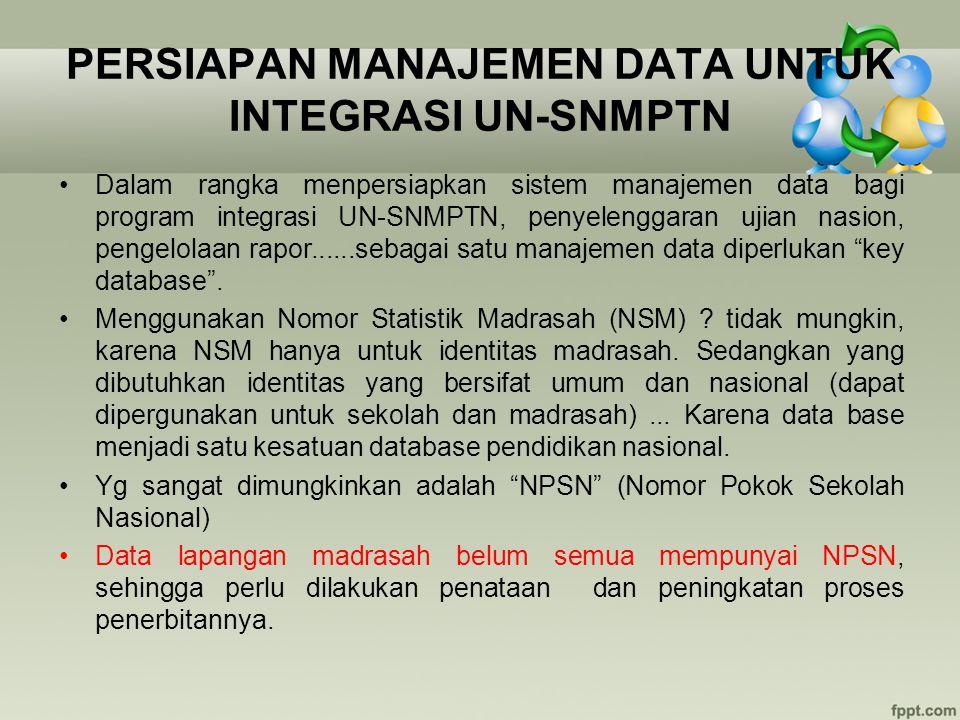 PERSIAPAN MANAJEMEN DATA UNTUK INTEGRASI UN-SNMPTN Dalam rangka menpersiapkan sistem manajemen data bagi program integrasi UN-SNMPTN, penyelenggaran u