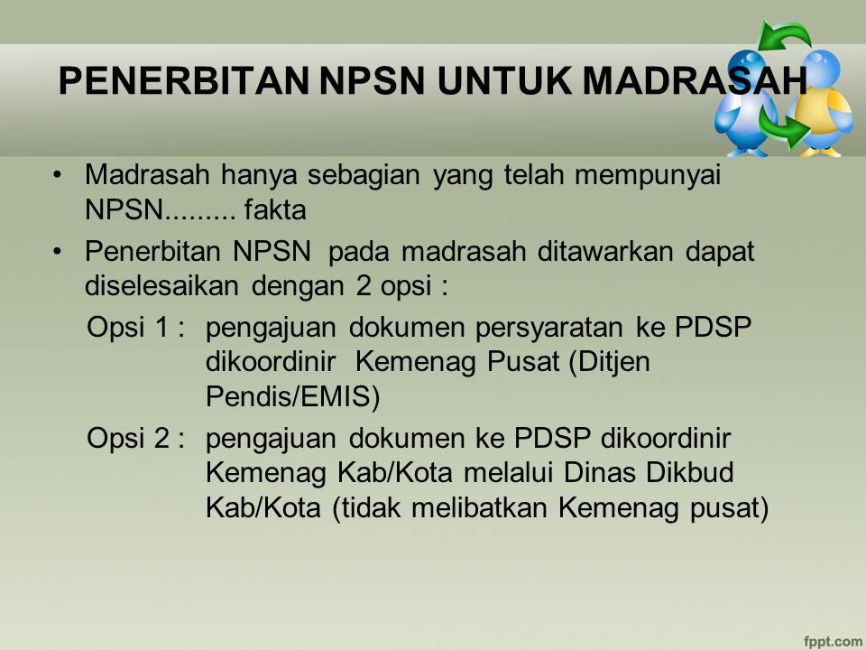 PENERBITAN NPSN UNTUK MADRASAH Madrasah hanya sebagian yang telah mempunyai NPSN......... fakta Penerbitan NPSN pada madrasah ditawarkan dapat diseles