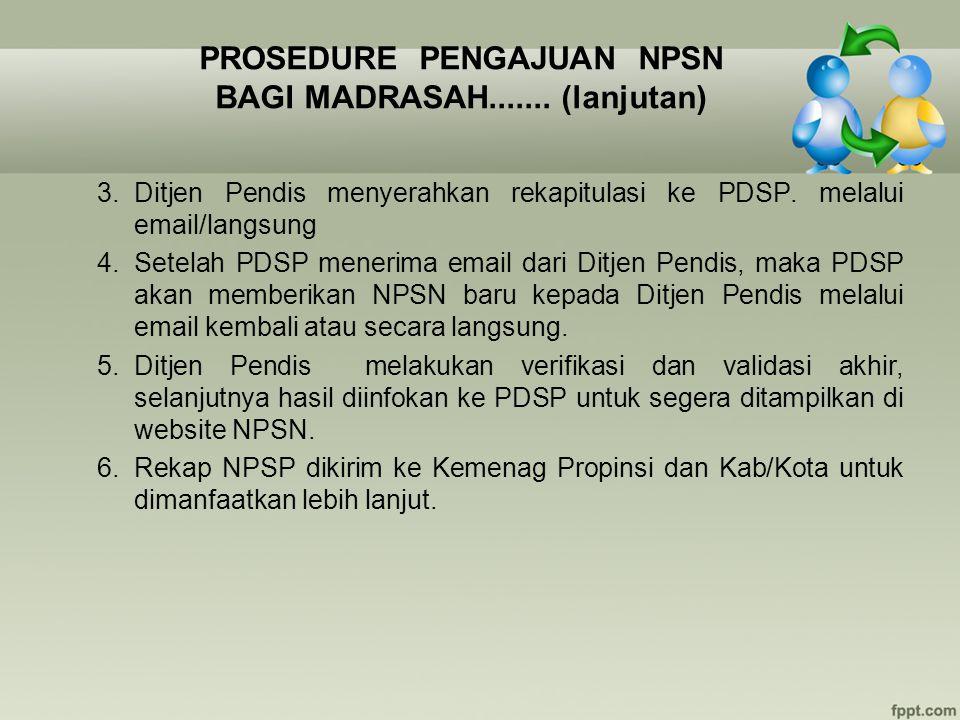PROSEDURE PENGAJUAN NPSN BAGI MADRASAH....... (lanjutan) 3.Ditjen Pendis menyerahkan rekapitulasi ke PDSP. melalui email/langsung 4. Setelah PDSP mene