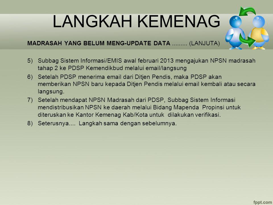 LANGKAH KEMENAG MADRASAH YANG BELUM MENG-UPDATE DATA......... (LANJUTA) 5)Subbag Sistem Informasi/EMIS awal februari 2013 mengajukan NPSN madrasah tah
