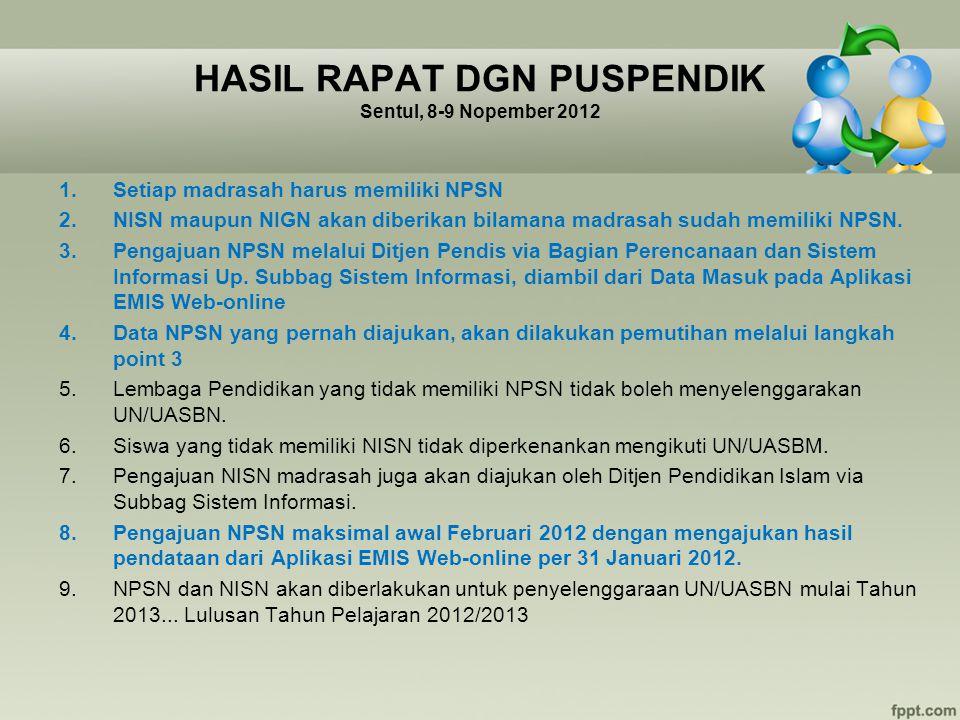HASIL RAPAT DGN PUSPENDIK Sentul, 8-9 Nopember 2012 1.Setiap madrasah harus memiliki NPSN 2.NISN maupun NIGN akan diberikan bilamana madrasah sudah me