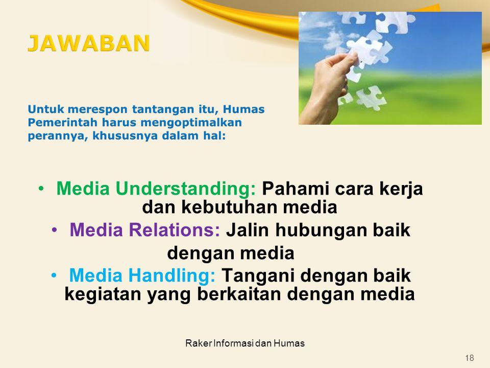 Raker Informasi dan Humas Media Understanding: Pahami cara kerja dan kebutuhan media Media Relations: Jalin hubungan baik dengan media Media Handling: