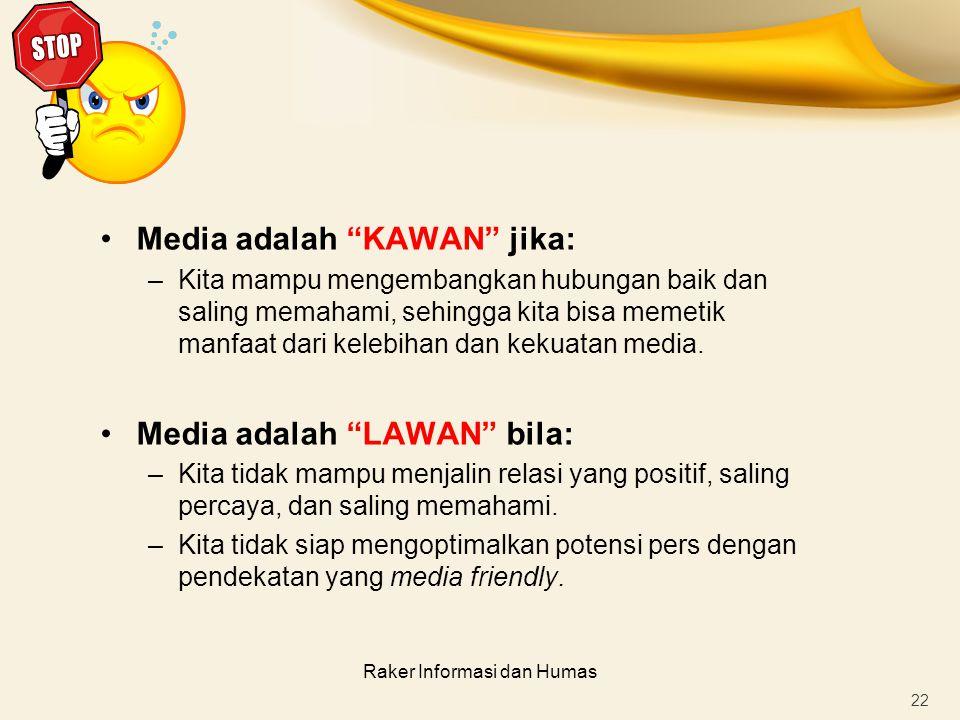 """Raker Informasi dan Humas Media adalah """"KAWAN"""" jika: –Kita mampu mengembangkan hubungan baik dan saling memahami, sehingga kita bisa memetik manfaat d"""