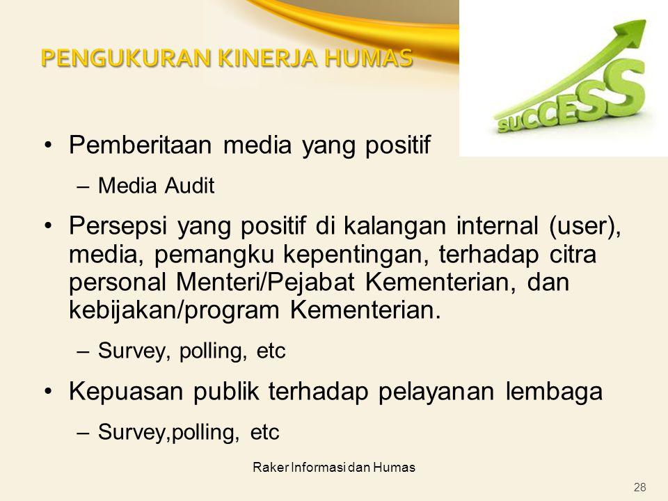 Raker Informasi dan Humas Pemberitaan media yang positif –Media Audit Persepsi yang positif di kalangan internal (user), media, pemangku kepentingan,