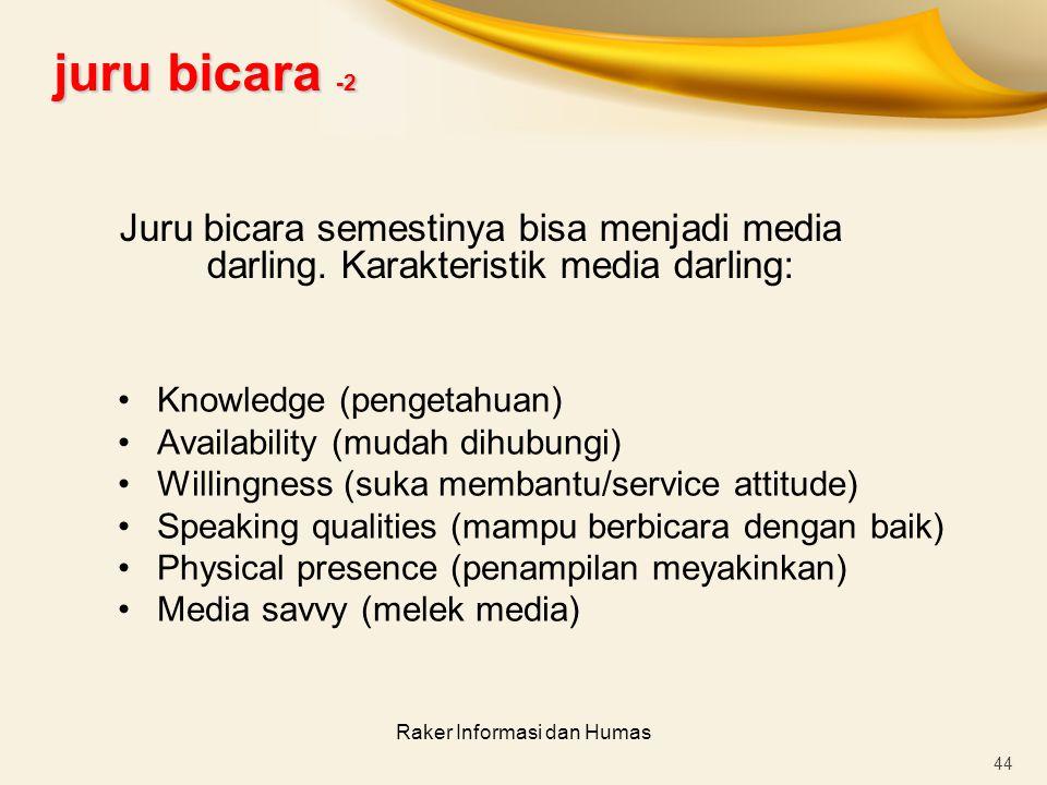 Raker Informasi dan Humas 44 Knowledge (pengetahuan) Availability (mudah dihubungi) Willingness (suka membantu/service attitude) Speaking qualities (m