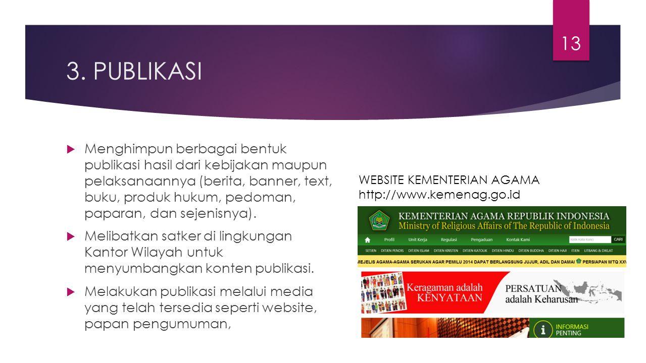 3. PUBLIKASI  Menghimpun berbagai bentuk publikasi hasil dari kebijakan maupun pelaksanaannya (berita, banner, text, buku, produk hukum, pedoman, pap