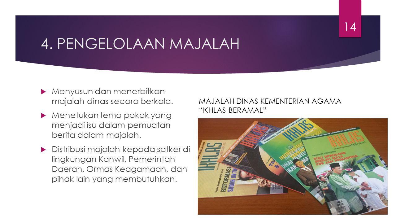 4. PENGELOLAAN MAJALAH  Menyusun dan menerbitkan majalah dinas secara berkala.  Menetukan tema pokok yang menjadi isu dalam pemuatan berita dalam ma