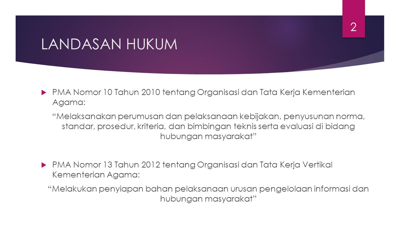 "LANDASAN HUKUM  PMA Nomor 10 Tahun 2010 tentang Organisasi dan Tata Kerja Kementerian Agama: ""Melaksanakan perumusan dan pelaksanaan kebijakan, penyu"