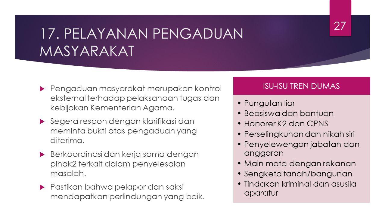 17. PELAYANAN PENGADUAN MASYARAKAT  Pengaduan masyarakat merupakan kontrol eksternal terhadap pelaksanaan tugas dan kebijakan Kementerian Agama.  Se