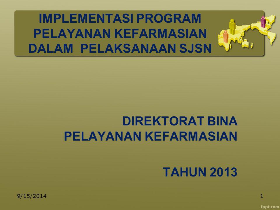 IMPLEMENTASI PROGRAM PELAYANAN KEFARMASIAN DALAM PELAKSANAAN SJSN DIREKTORAT BINA PELAYANAN KEFARMASIAN TAHUN 2013 9/15/20141