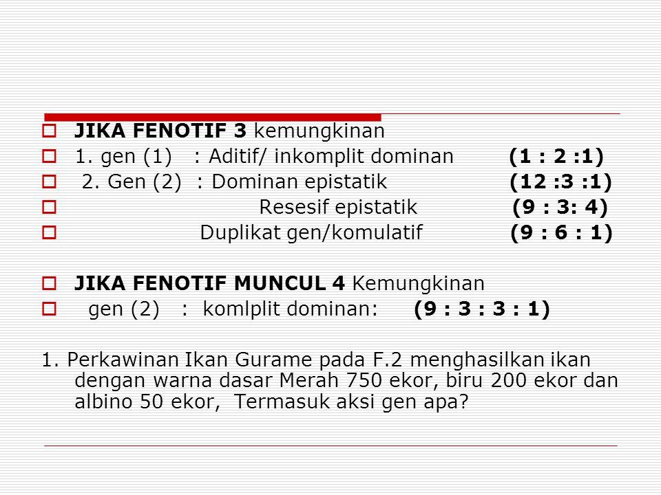  JIKA FENOTIF 3 kemungkinan  1. gen (1) : Aditif/ inkomplit dominan (1 : 2 :1)  2. Gen (2) : Dominan epistatik (12 :3 :1)  Resesif epistatik (9 :