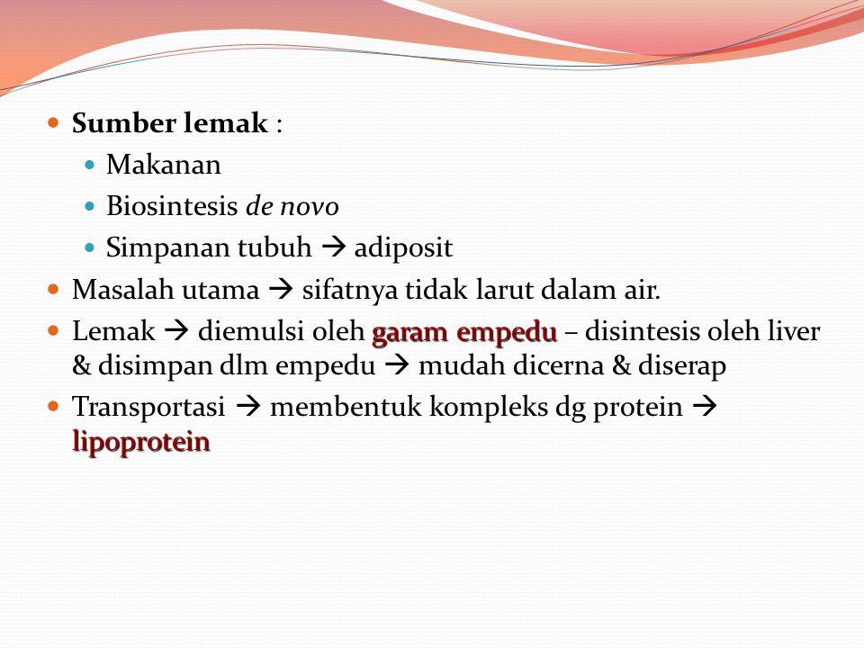 Sumber lemak : Makanan Biosintesis de novo Simpanan tubuh  adiposit Masalah utama  sifatnya tidak larut dalam air. garam empedu Lemak  diemulsi ole