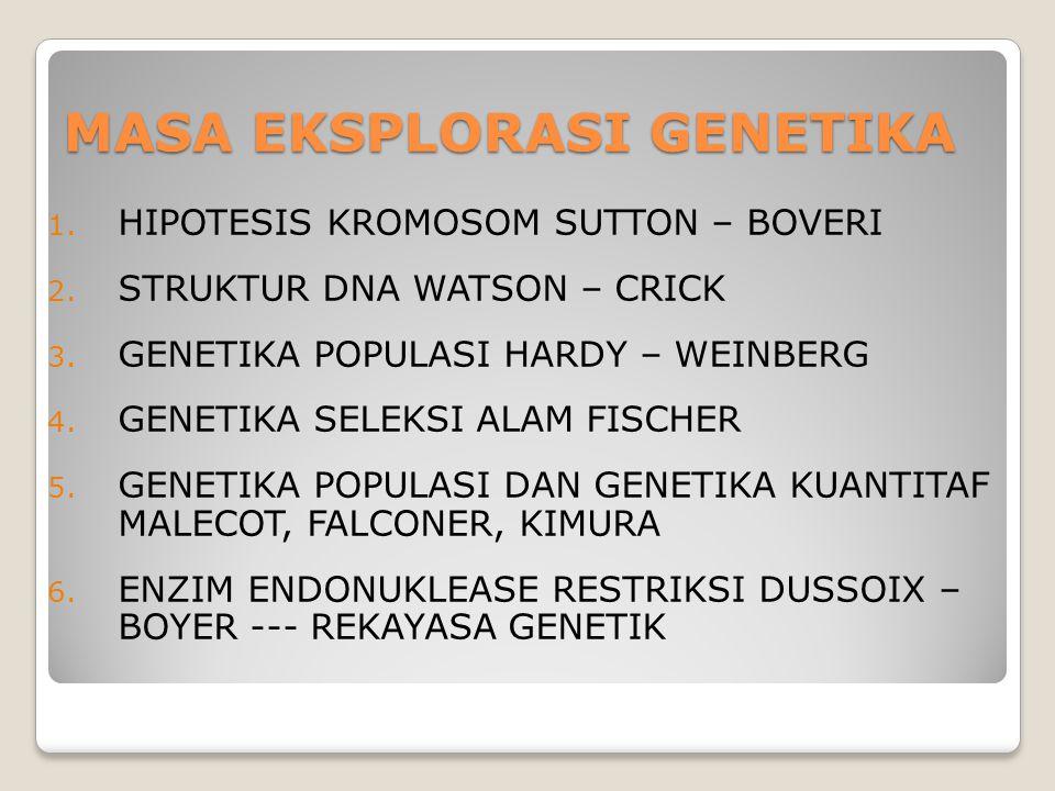 MASA EKSPLORASI GENETIKA 1. HIPOTESIS KROMOSOM SUTTON – BOVERI 2. STRUKTUR DNA WATSON – CRICK 3. GENETIKA POPULASI HARDY – WEINBERG 4. GENETIKA SELEKS