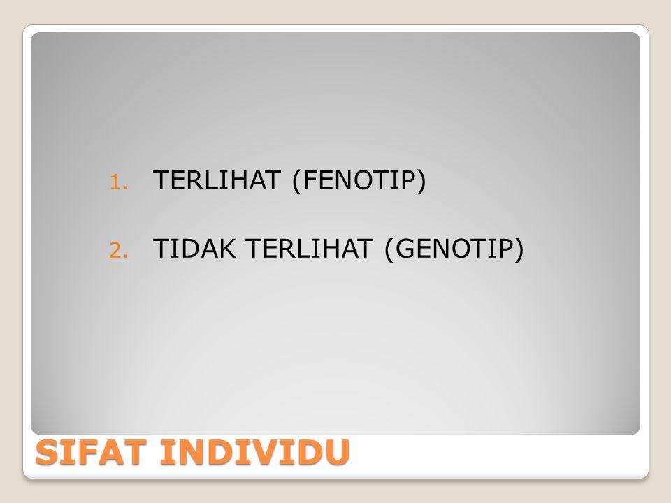 SIFAT INDIVIDU 1. TERLIHAT (FENOTIP) 2. TIDAK TERLIHAT (GENOTIP)