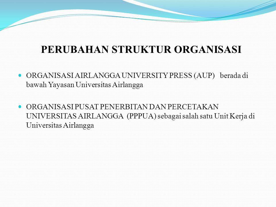PERUBAHAN STRUKTUR ORGANISASI ORGANISASI AIRLANGGA UNIVERSITY PRESS (AUP) berada di bawah Yayasan Universitas Airlangga ORGANISASI PUSAT PENERBITAN DA