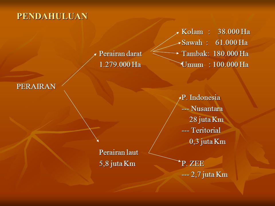 PENDAHULUAN Kolam : 38.000 Ha Sawah : 61.000 Ha Perairan daratTambak: 180.000 Ha 1.279.000 HaUmum : 100.000 Ha PERAIRAN P. Indonesia --- Nusantara 28