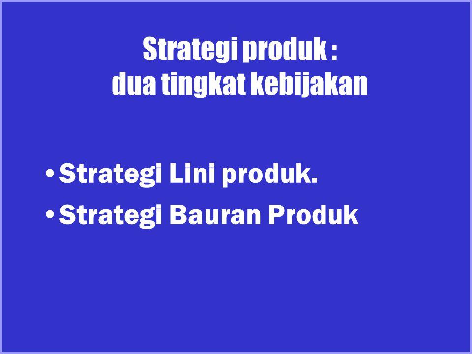 Strategi produk : dua tingkat kebijakan Strategi Lini produk. Strategi Bauran Produk