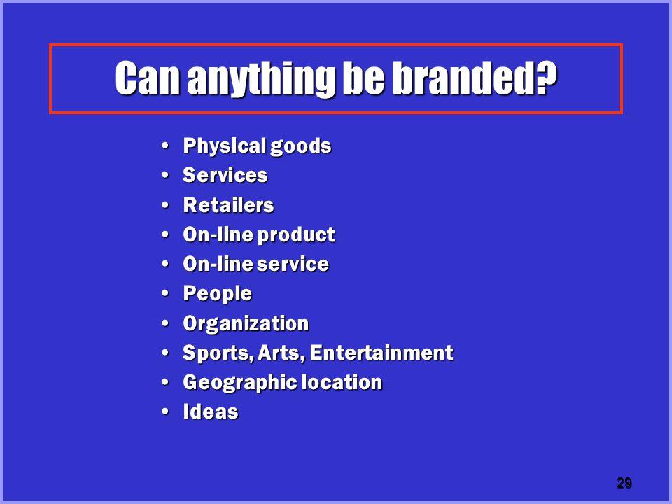 30 Brand Value Examples of brand value 2001 ( Million US$) Coca-cola 69 Microsoft65 IBM52 GE42 Nokia35 Intel34 Disney32 McDonald25 Sony15 Honda14 BMW13