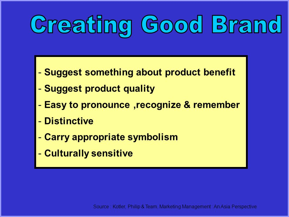 - Suggest something about product benefit - Suggest product quality - Easy to pronounce,recognize & remember - Distinctive - Carry appropriate symbolism - Culturally sensitive Source : Kotler, Philip & Team, Marketing Management : An Asia Perspective