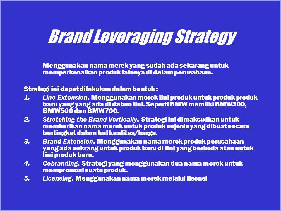 Brand Leveraging Strategy Menggunakan nama merek yang sudah ada sekarang untuk memperkenalkan produk lainnya di dalam perusahaan. Strategi ini dapat d