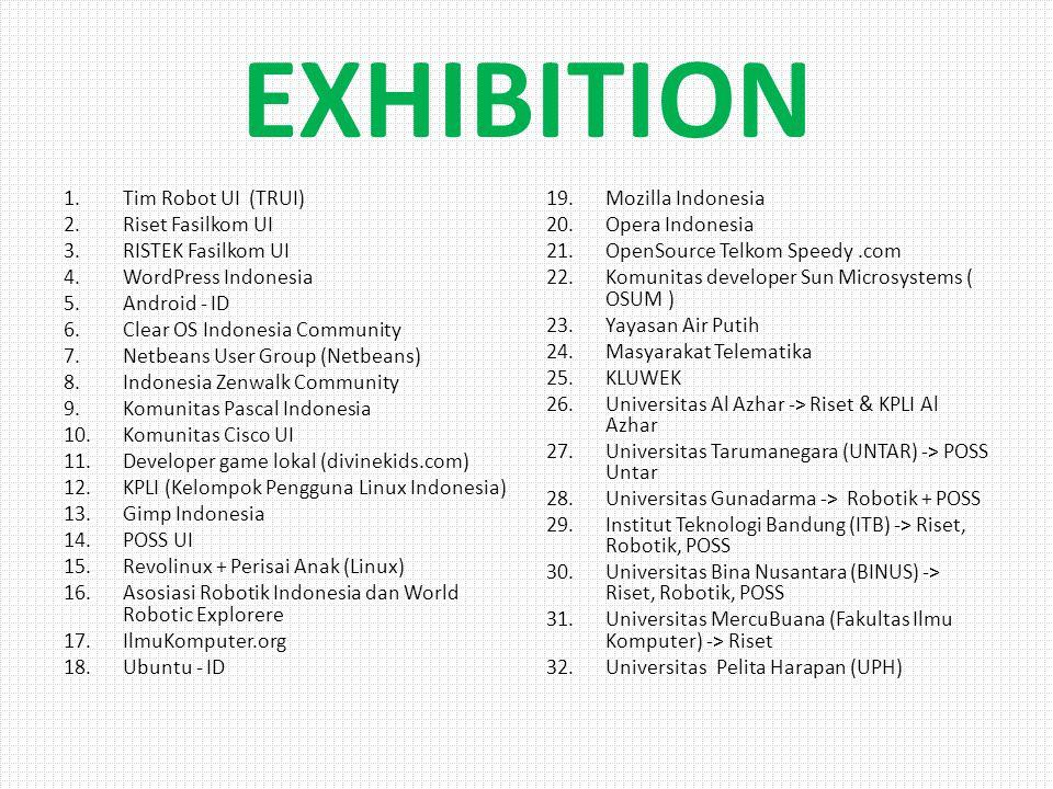 SEMINAR Hari ke-1 10.30 - 10.40 Pimpinan IGOS + Betty Alisyahbana 10.40 - 11.00 11.00 - 12.30Eksplorasi Tiada Henti dengan Open Source 12.30 - 13.00Istirahat + Shalat 13.00-13.30 FASILKOM ( Presentasi Riset ) 13.30-14.30 14.30-15.30 15.30-16.00 16.00 - 16.30 16.30-17.00 Romi Satrio Wahono + Perisai Anak 17.00-18.00 18.00-18.30Pemanfaatan IT sebagai Sarana Edukasi yang Efektif dan Interaktif