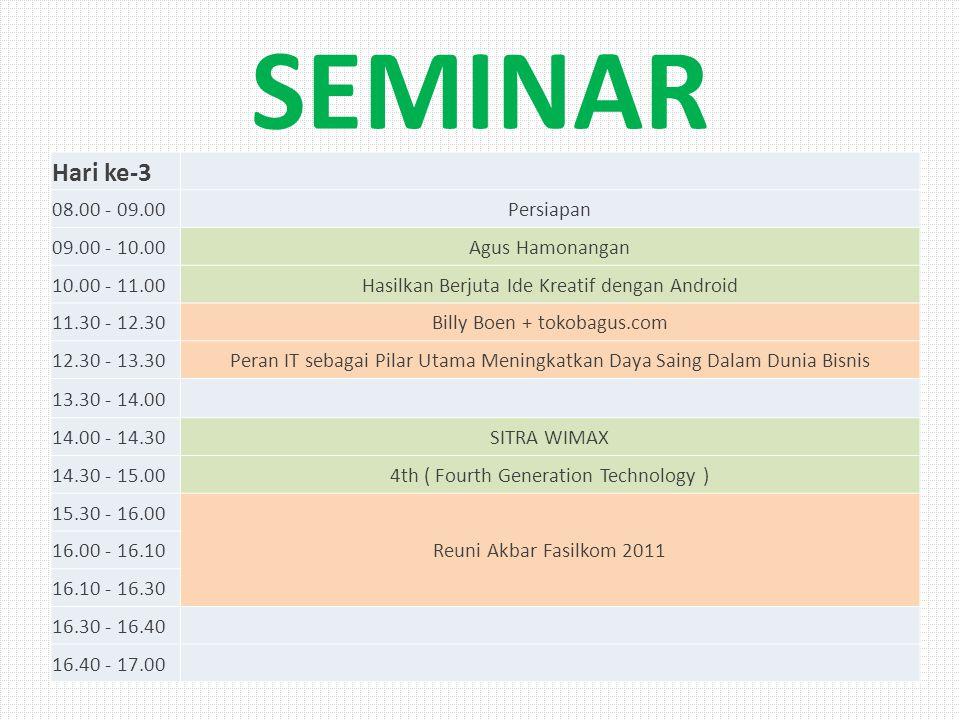 SEMINAR Hari ke-3 08.00 - 09.00Persiapan 09.00 - 10.00Agus Hamonangan 10.00 - 11.00Hasilkan Berjuta Ide Kreatif dengan Android 11.30 - 12.30Billy Boen