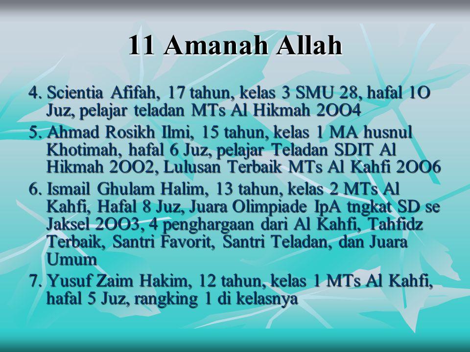 11 Amanah Allah 4. Scientia Afifah, 17 tahun, kelas 3 SMU 28, hafal 1O Juz, pelajar teladan MTs Al Hikmah 2OO4 5. Ahmad Rosikh Ilmi, 15 tahun, kelas 1