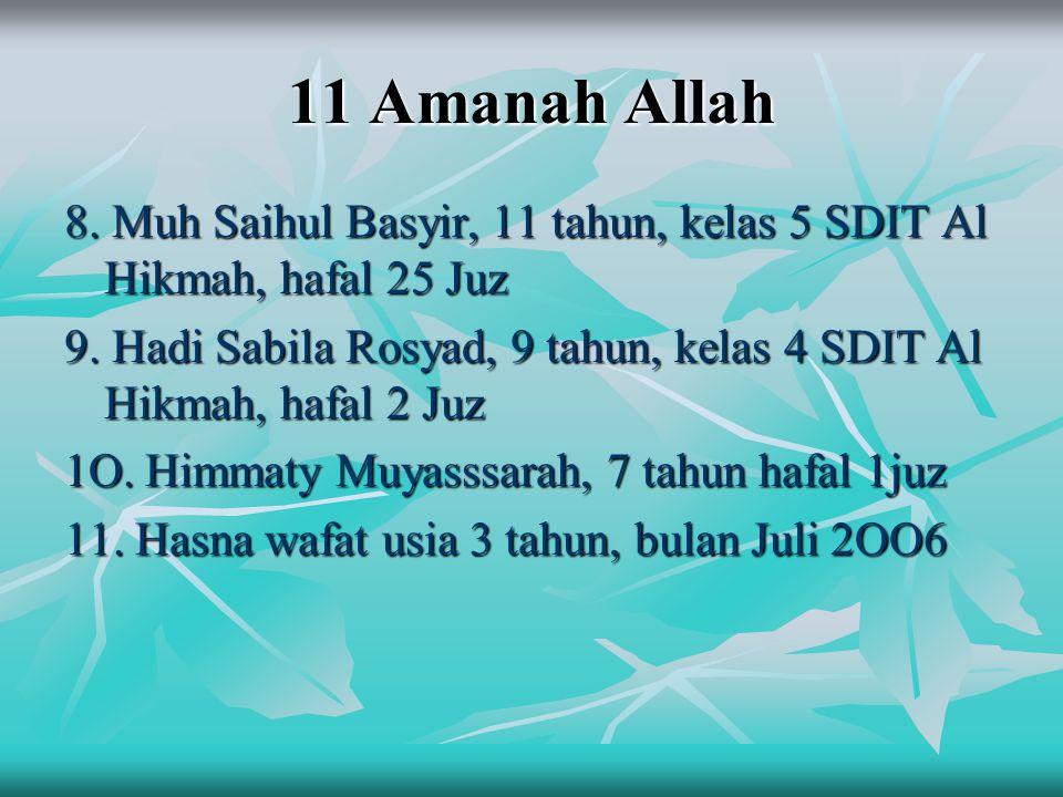11 Amanah Allah 8. Muh Saihul Basyir, 11 tahun, kelas 5 SDIT Al Hikmah, hafal 25 Juz 9. Hadi Sabila Rosyad, 9 tahun, kelas 4 SDIT Al Hikmah, hafal 2 J