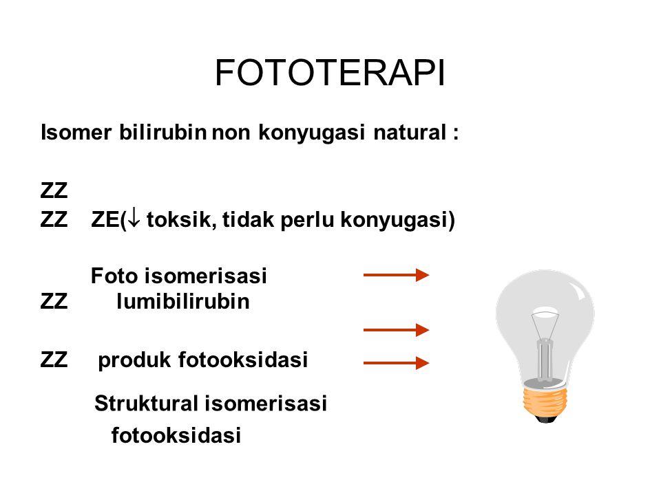 FOTOTERAPI Isomer bilirubin non konyugasi natural : ZZ ZZ ZE(  toksik, tidak perlu konyugasi) ZZ lumibilirubin ZZ produk fotooksidasi Foto isomerisas